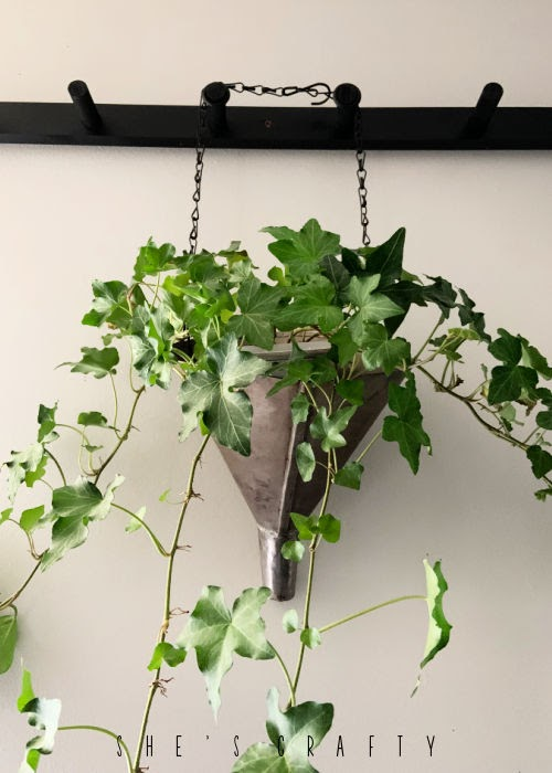 Hanging plant holder made from a funnel.