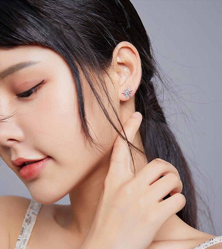 浪漫煙花五彩鋯石 925純銀耳環