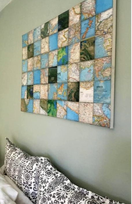 make an awesome cool cubed wall art piece with thrifted maps