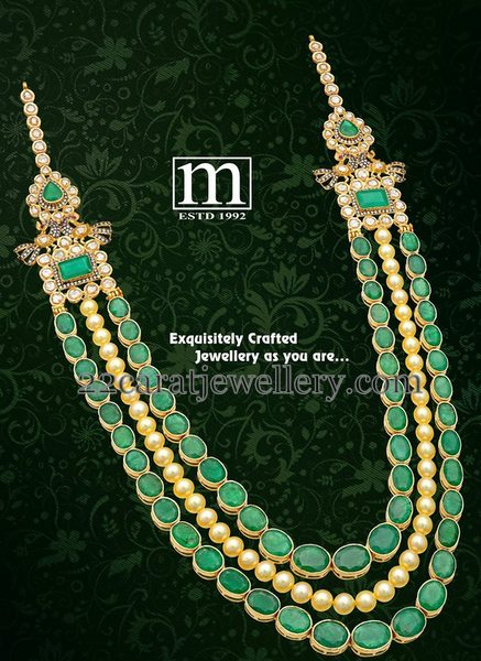 Emerald Stones Pearls Long Chain Jewellery Designs