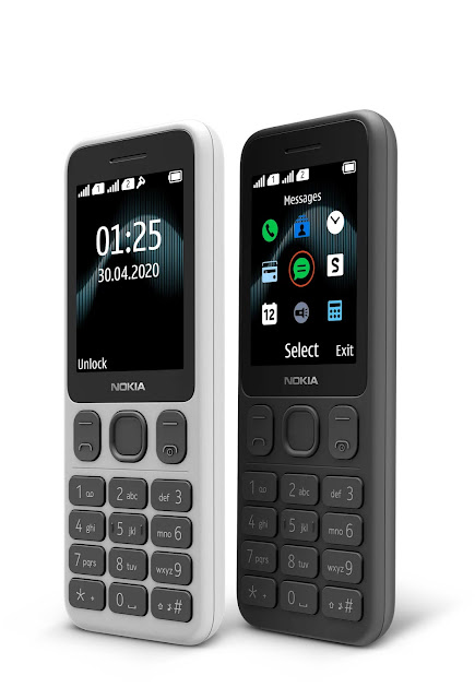 Nokia 125 in Powder White and Charcoal Black colours