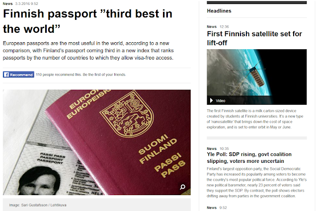 http://yle.fi/uutiset/finnish_passport_third_best_in_the_world/8715951