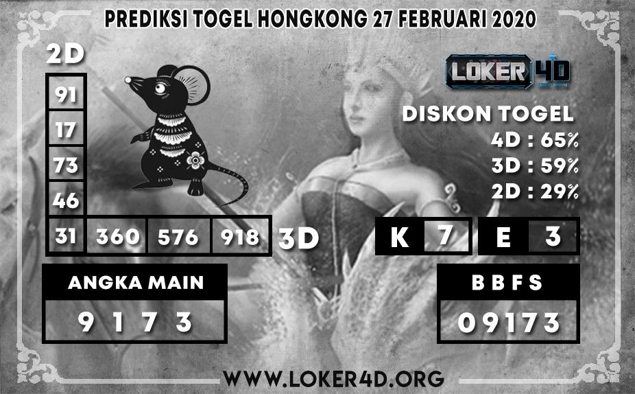 PREDIKSI TOGEL HONGKONG LOKER4D 27 FEBRUARI 2020