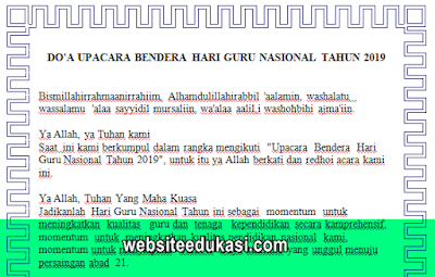 Doa Upacara Bendera Hari Guru Nasional 2019