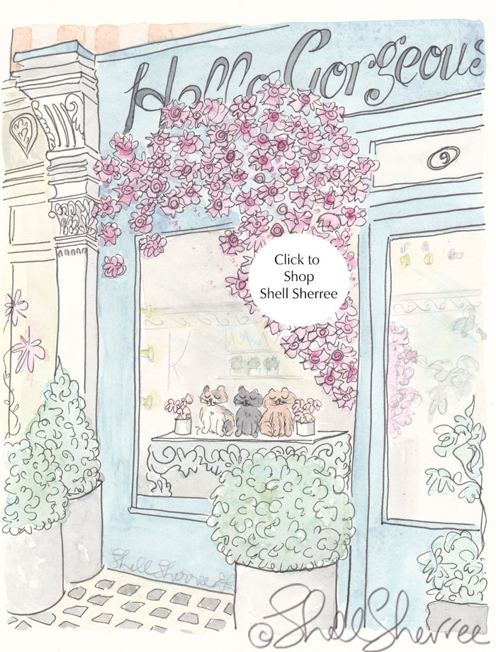 Hello Gorgeous flower shop cats in window illustration  © Shell Sherree all rights reserved