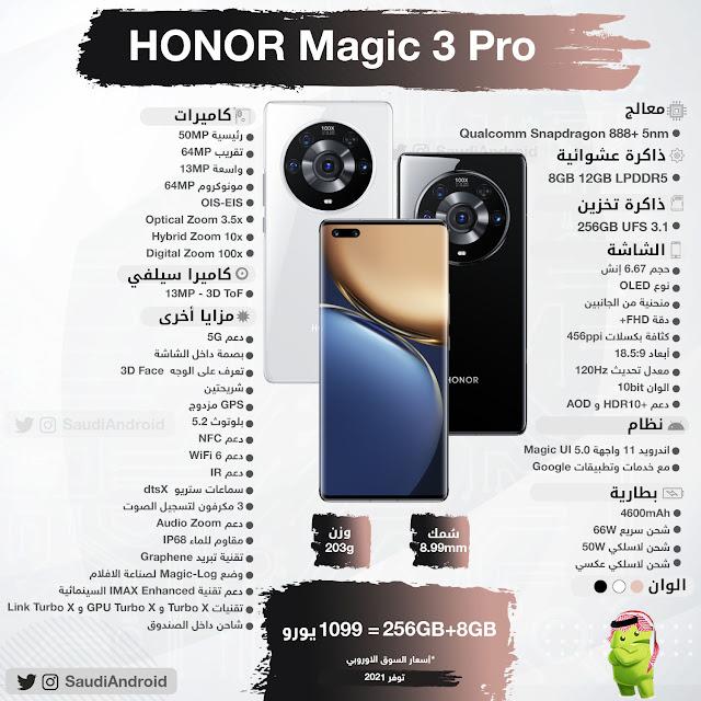 انفوجرافيك : مواصفات & مميزات هاتف هونر ماجيك 3 برو Honor Magic 3 Pro