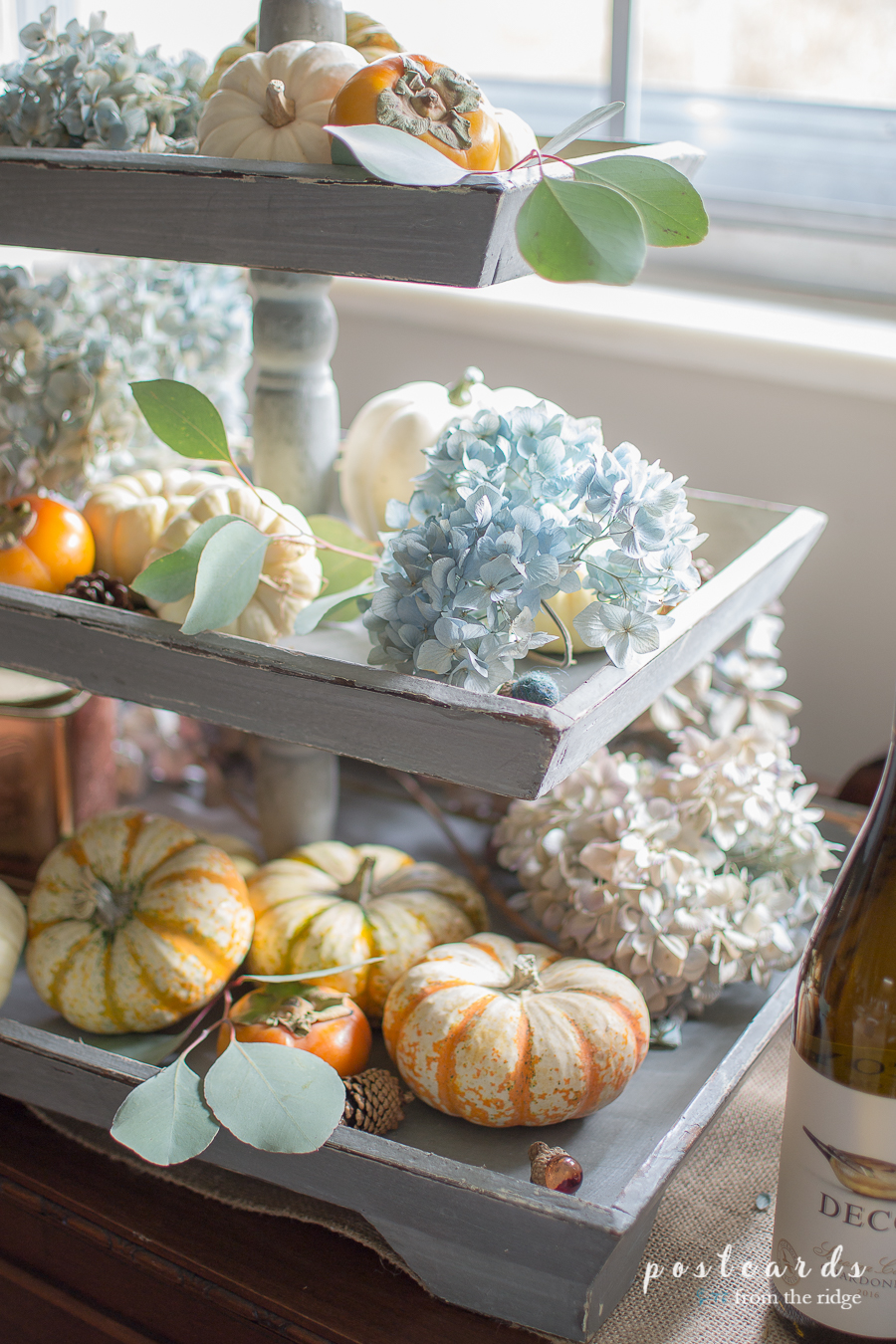 tiered tray with fall decor