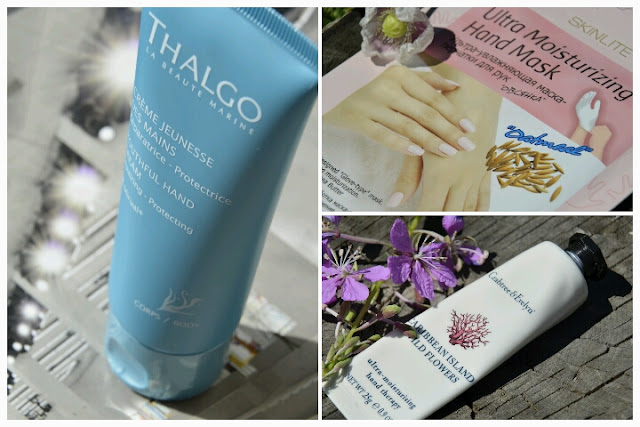 E_katerina: Уход за ручками: кремы Crabtree & Evelyn Caribbean Island wild flowers, Thalgo Youthful, маска для рук Skinlite Ultra  Moisturizing