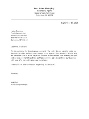 Apology Letter Sample for Delaying Payment