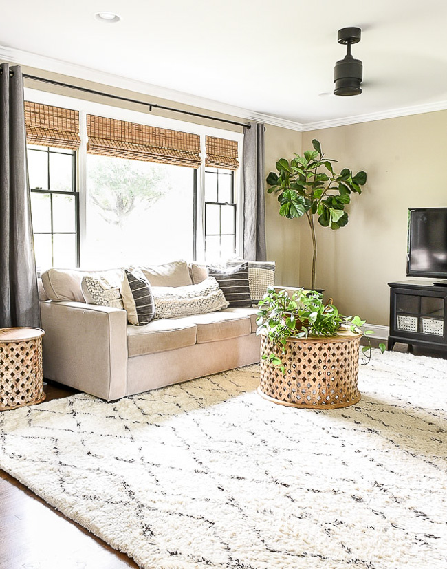 Neutral modern farmhouse living room
