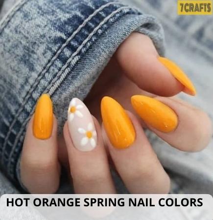 Hot Orange Spring nail design