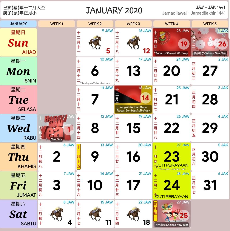 Kalendar 2020 Dan Cuti Sekolah 2020 Rancang Percutian