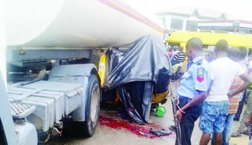 Bloody Day in Lagos: Two Killed and Many Injured as Tricycle Rams Into Tanker (Photo)