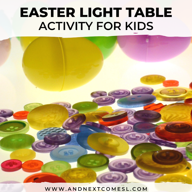 Easter light table activity for kids using plastic eggs and buttons