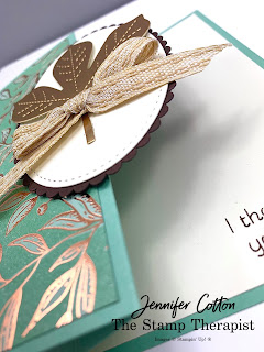 This card uses the Love of Leaves bundle by Stampin' Up!.  The designer paper is Gilded Autumn, and the leaf is cut from the Brushed Metallic Cardstock.  #StampinUp #StampTherapist
