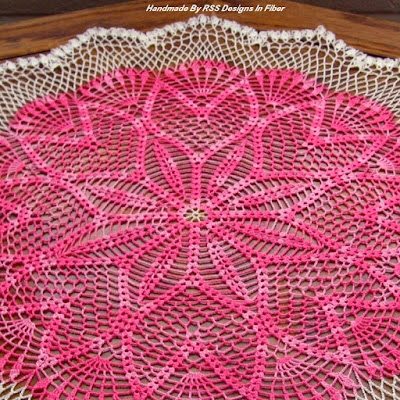 22 Inch Table Topper - Pink Tulips Ring - Handmade Crochet By Ruth Sandra Sperling of RSS Designs In Fiber