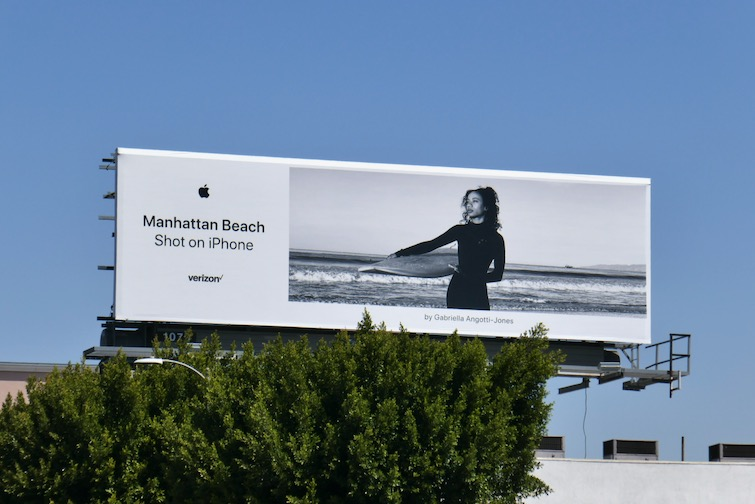 Manhattan Beach surfer Shot on iPhone billboard