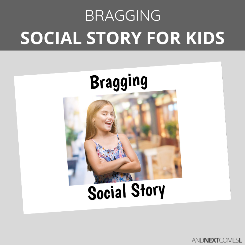 Printable social story for kids with autism about bragging