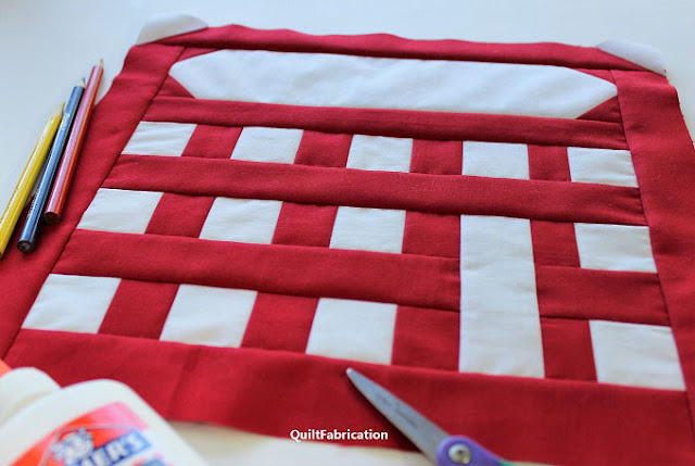 red and grey calculator quilt block by QuiltFabrication