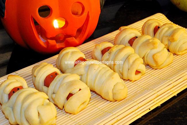 Momias con salchichas de Halloween