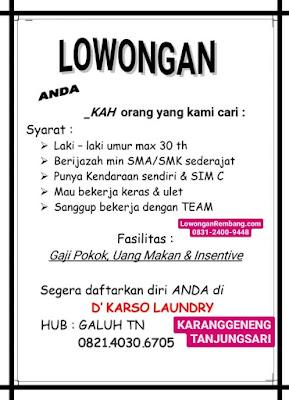 Lowongan Kerja Karyawan D'Karso Laundry Karanggeneng Tanjungsari Rembang