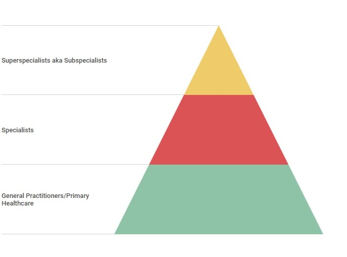 pyramid infographic with specialists subspecialists general practitioners