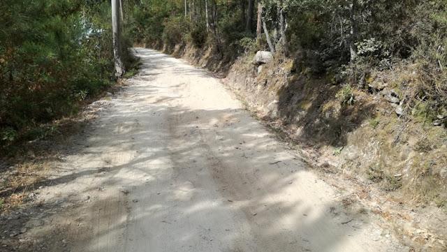 Estrada a descer em terra batida com buracos