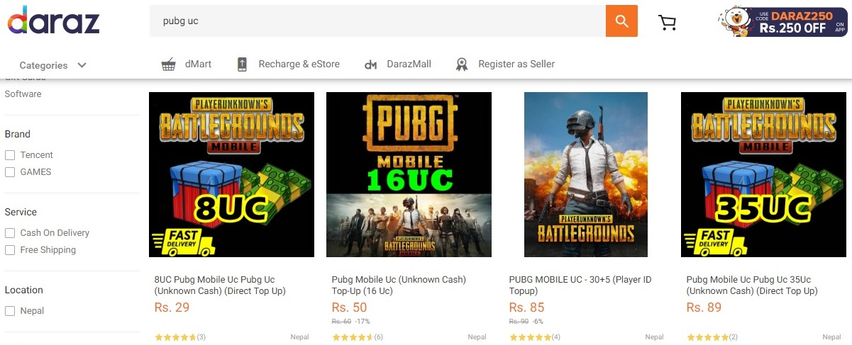buy pubg mobile uc from daraz in nepal