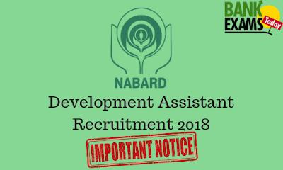 NABARD Development Assistant Recruitment 2018: Important Notice
