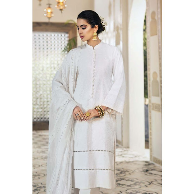 Gul Ahmed Lawn collection white color printed embroidered suit