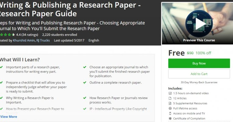 [100% Off] Writing & Publishing A Research Paper