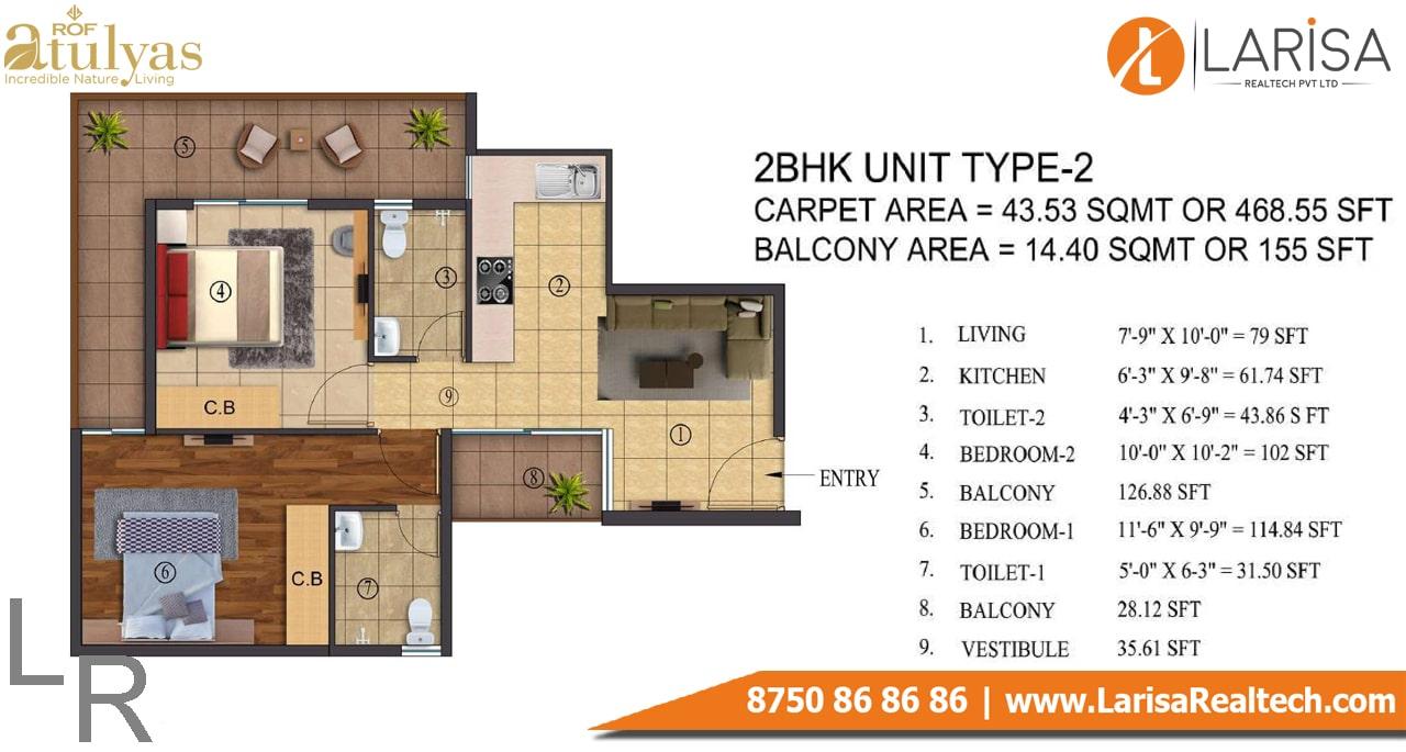 ROF Atulyas 93 2BHK Type-2 Floor Plan