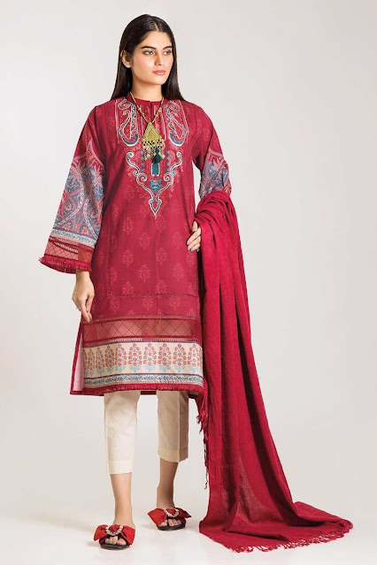 Khaadi winter collection Red colour with shirt shawl dress