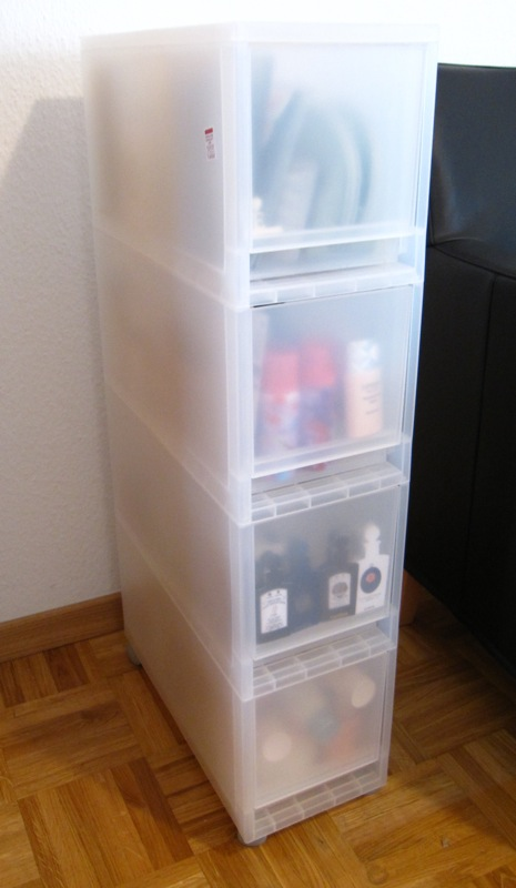 Rouge Deluxe Storage solutions Muji Drawers and Ikea Flaren Cabinet