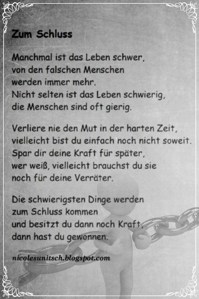 Gedichte Von Nicole Sunitsch Autorin Zum Schluss Gedicht Von