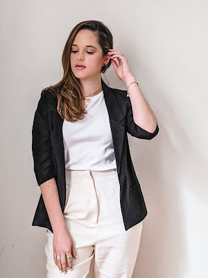 Nyc fashion blogger Kathleen Harper wearing a blazer outfit for work or weekend.