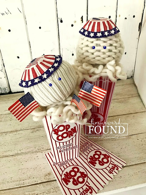 art, art class, color, diy decorating, DIY, just for fun, re-purposing, Fourth of July decor, summer, sweaters, Sweet Sweater Sandbabies, Sweet Sweater Pumpkins, thrifted, sweater crafts, summer home decor, diy home decor, patriotic home decor, patriotic summer decor, red white and blue, popcorn bucket decor