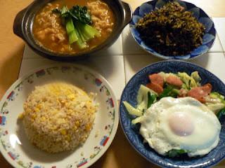 高菜挽肉炒め チョリソ目玉野菜炒め 辛ラーメン チャーハン