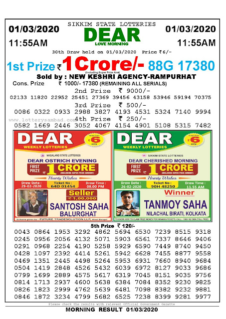 Sikkim State 01-03-2020 Lottery Sambad Result 1155 AM