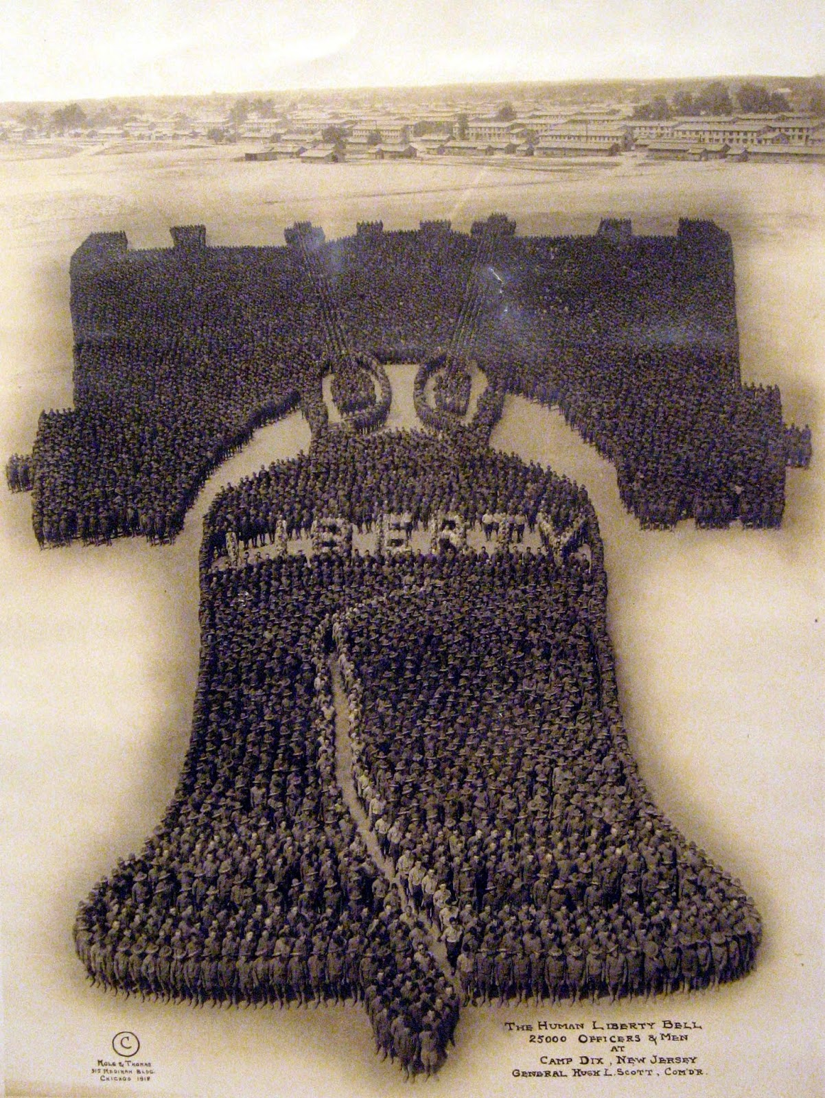 The Human Liberty Bell, 1918, Camp Dix New Jersy, 25,000 officers and men