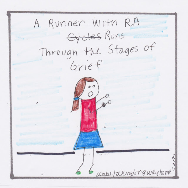 a runner with RA runs through the stages of grief
