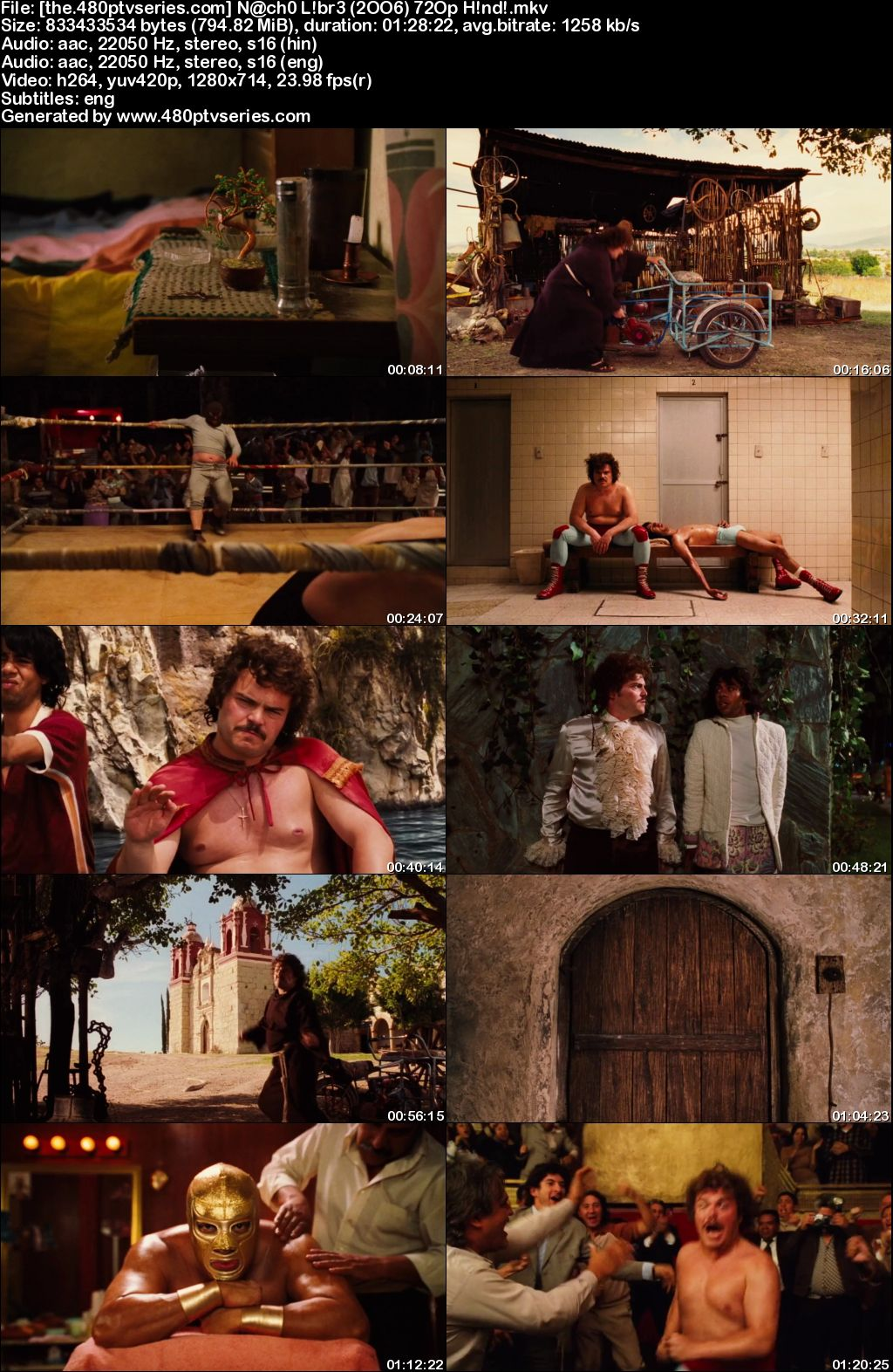 Watch Online Free Nacho Libre (2006) Full Hindi Dual Audio Movie Download 480p 720p Bluray