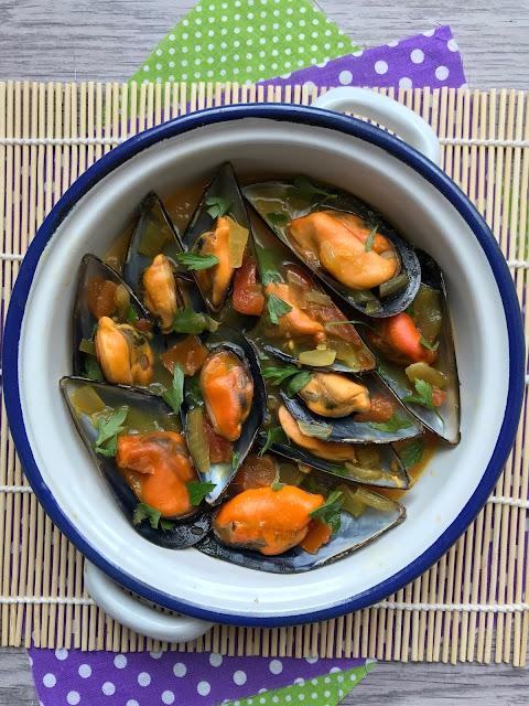mejillones al azafrán receta