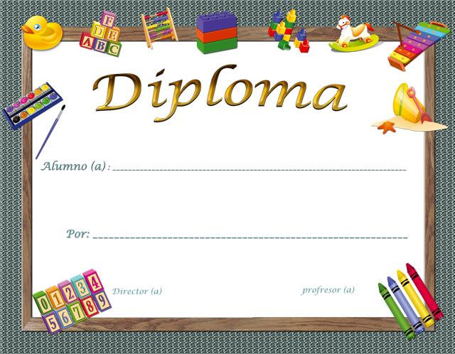 2 Plantillas de diplomas para parvularia y kindergarten gratis