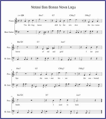 gambar notasi bas lagu