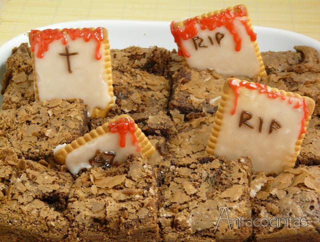 Cementerio de brownie para Halloween
