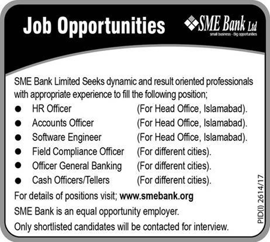 Jobs In SME Bank Limited Islamabad & other Cities Nov 2017
