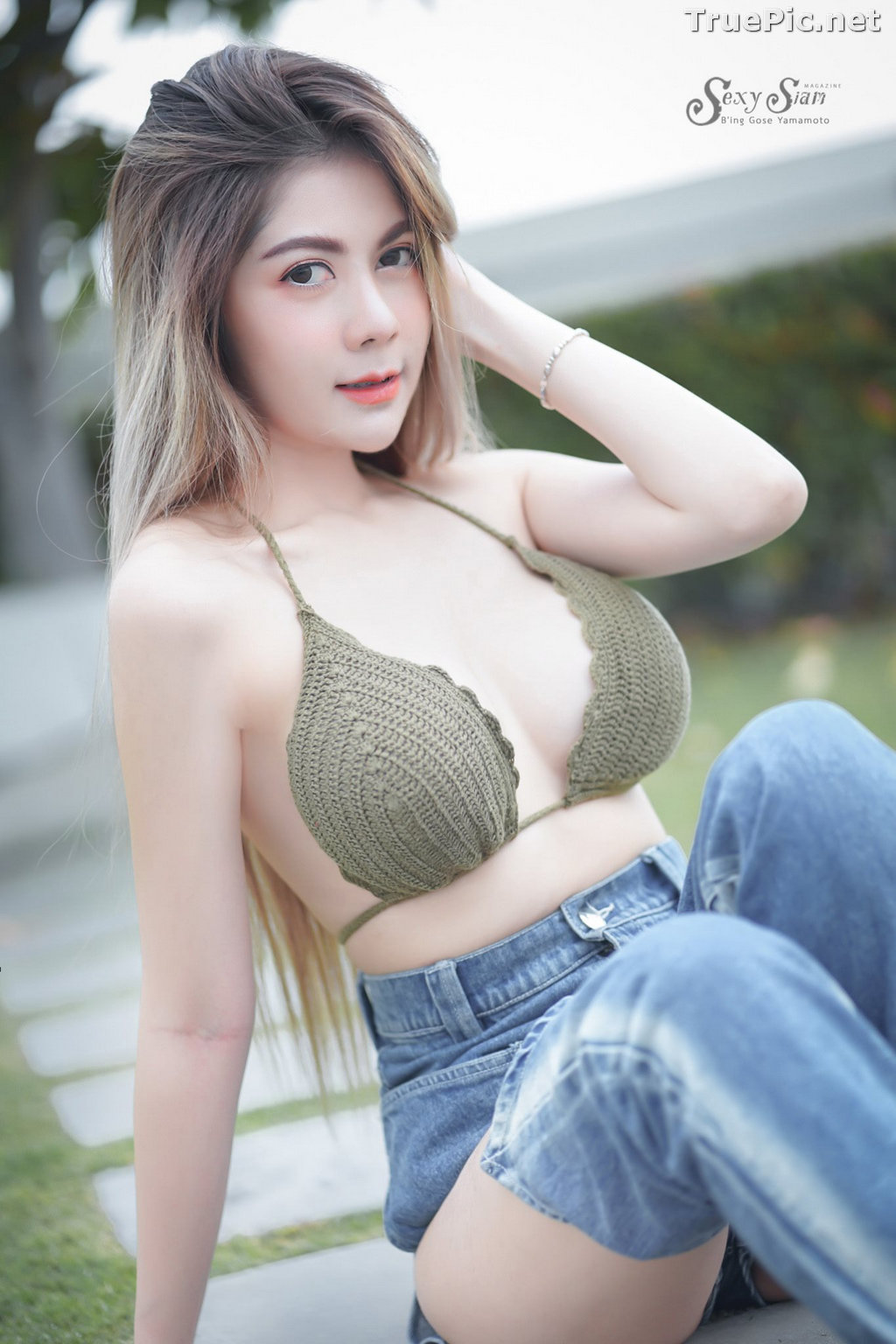 Image Thailand Model - Paeploy Panpeng - Green Tea Bra and Jean - TruePic.net - Picture-2