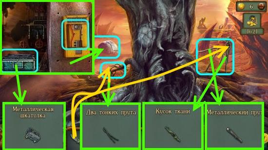 забираем ткань, два прутика, металлический прут в игре наследие 3 дерево силы