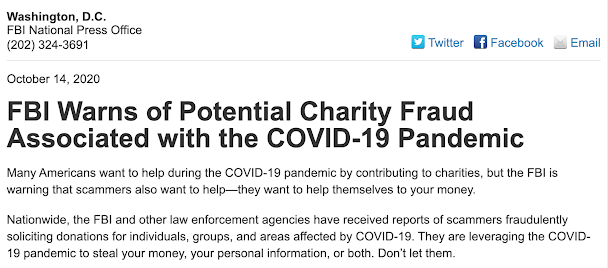 Warning from FBI: Potential Charity Fraud Associated with the COVID-19 Pandemic